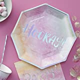Ginger Ray Iridescent Hooray Rainbow Paper Party Plates - Iridescent Party
