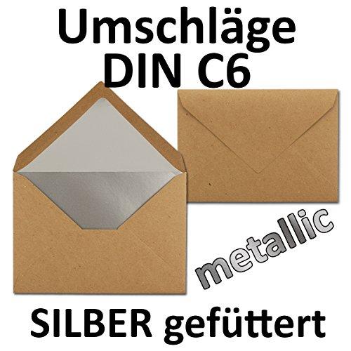 Kuvert aus Kraft-Papier in Braun | 10 Stück | Blanko Brief-Umschläge mit Silber-Metallic...