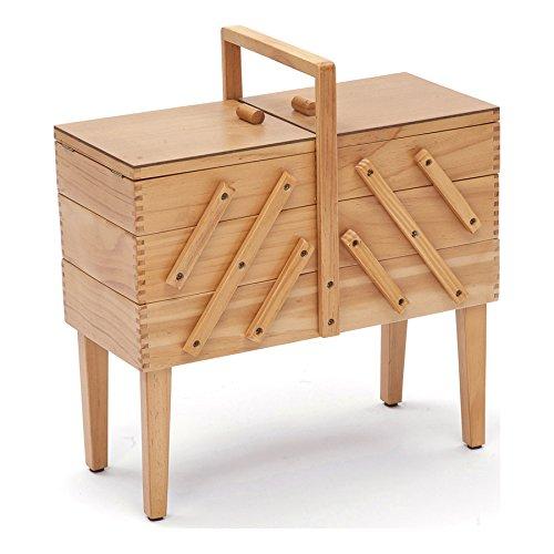 Hobby Gift 3-Tier Cantilever–Caja de Costura con Patas, Madera, lámpara de Techo de Madera/Beige