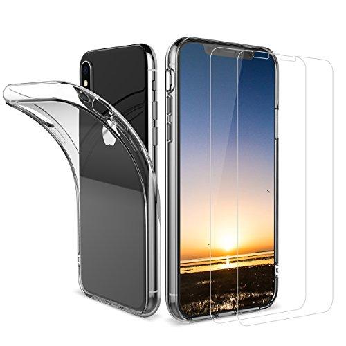 2 Stück iPhone X Panzerglas, iPhone X Hülle, Dexnor Apple iPhone X Panzerglas Glas Folie Schutzfolie 9H 3D Displayschutzfolie + Hülle Silikon Ultra Transparent Durchsichtig Schutzhülle Handyhülle