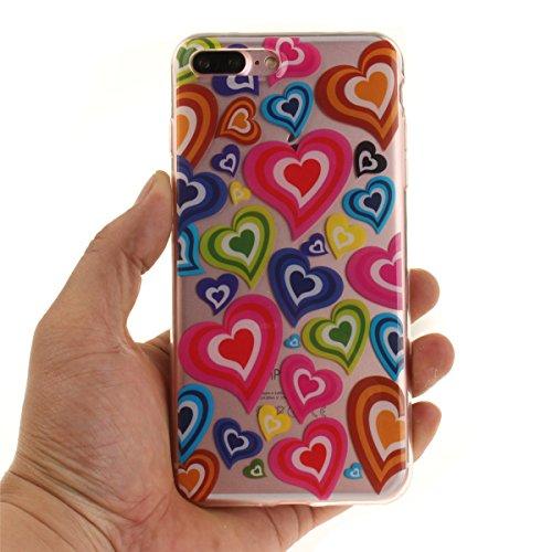 iPhone 7 Plus Hülle, iPhone 7 Plus Hülle, Gift_Source [ Pinguin ] Hülle Case Transparent Weiche Silikon Schutzhülle Handyhülle Schutzhülle Durchsichtig TPU Crystal Clear Case Backcover Bumper Case für E1-Buntes Herz