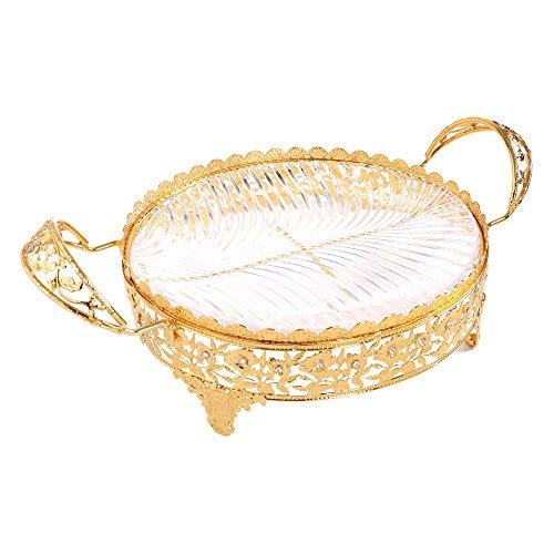 Crystal Kompott Mittelpunkt Deko Glas Teller Schüssel Servierplatte Hochzeit Party Tisch Aufsteller mit Griffen groß oval gold Metall dienen Ware Display für Kuchen Desserts Fruits Candy