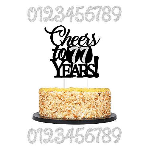 QIYNAO Tortenaufsatz mit Glitzer, 0-9 und Schwarz, für 18-20-30-40-50-60-70-80. Jahre, Hochzeit, Geburtstag, Jahrestag, Party, Kuchen Dekoration, Zubehör Geburtstag silber (Cake Black)