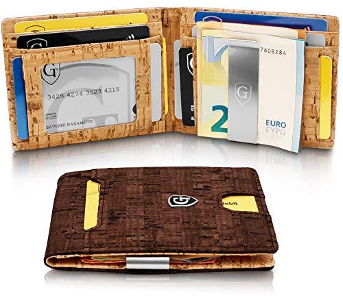 GenTo® Herren Designer-Geldbörse New York mit Geldklammer ohne Münzfach - TÜV geprüfter RFID, NFC Schutz - Slim Wallet - Inklusive Geschenkbox - erhältlich in 2 Far (Dunkelbraun Kork/Hellbraun Kork) - Designer Herren Geldbörse