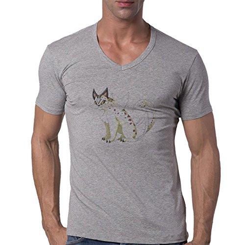 Pokemon Meowth Persian Normal Cugar Herren V-Neck T-Shirt Grau