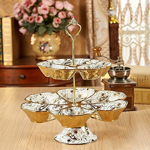 QYSZYG Mehrschichtiger Obstteller-Home-Süßigkeiten-Behälter-keramischer Imbiss-Stand, Handgemalte Platte - Imbiss-stand