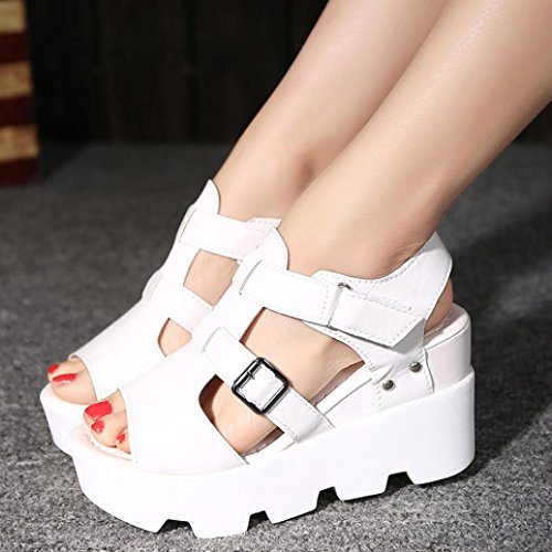 Webla Damen Sommer Sandalen Schuhe Peep-Toe High Schuhe Römische Sandalen Damen Flip Flops Weiß