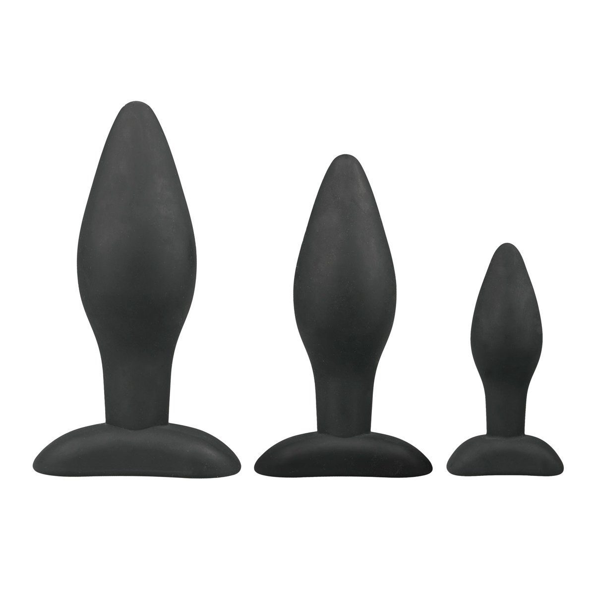 EasyToys Anal Collection Buttplug Set, 3 Pieces, Black Analtoys, Buttplug Training Set