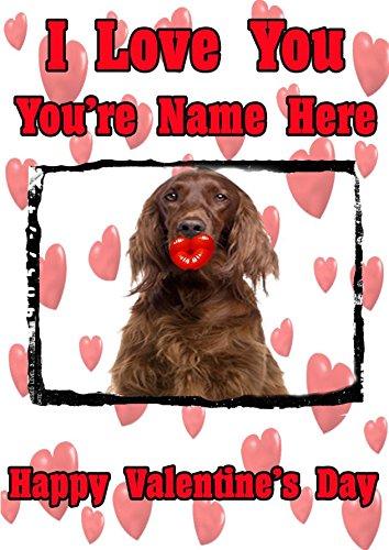 Irish Setter Hund TV150Fun Cute Valentine 's Day Karte A5personalisierbar Grußkarte