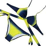 Yuanline Women Gradient Pattern Push Up Bra Two-Piece Swimsuit Bikini Sexy Swimwear (Yellow, L)