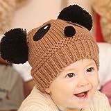 HuntGold grazioso berretto lavorato a maglia, a forma di panda, riscaldante per l'inverno, per ragazzo e ragazza coffe