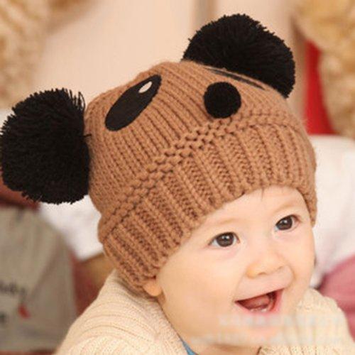 HuntGold süße Baby Boy Winter Warm Panda Form gestrickte Wolle Häkeln Beanie(kaffee)