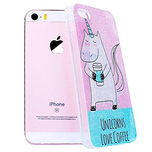 WE LOVE CASE iPhone 5S / 5 / SE Hülle Glitzern Transparent Durchsichtig Schwarz Gelb iPhone 5S / 5 / SE Hülle Silikon Weich Streifen Handyhülle Tasche für Mädchen Elegant Backcover , Soft TPU Flexibel Unicorn