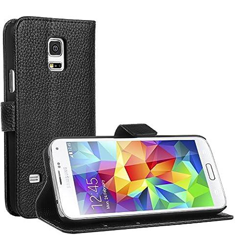 Samsung Galaxy S5 Mini Hülle - EnGive Ledertasche Schutzhülle Case Tasche mit Standfunktion und Karte Halter for Galaxy S5 Mini