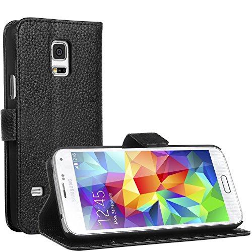 Preisvergleich Produktbild Samsung Galaxy S5 Mini Hülle - EnGive Ledertasche Schutzhülle Case Tasche mit Standfunktion und Karte Halter for Galaxy S5 Mini (schwarz)