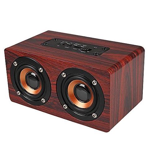 Cewaal Sans fil Portable Bois Orateur Bluetooth Haut-parleur