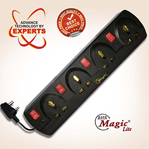 MAGIC LITE® Electrical Extension Board Four Sockets with Four Individual Rockers Switches, Power Strip, extension cord, extension board (BLACK)  available at amazon for Rs.249