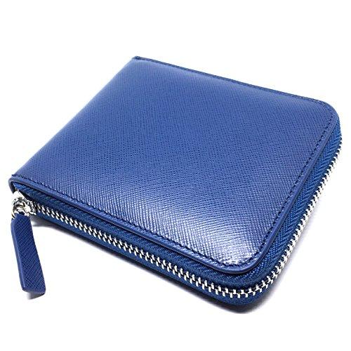 Edles Portemonnaie aus Leder | 8 Kartenfächer & umlaufender Reißverschluss | Geldbörse ideal zum Ausgehen | Brieftasche im Unisex-Design | Portmonee für Damen und Herren | Marine-Blau