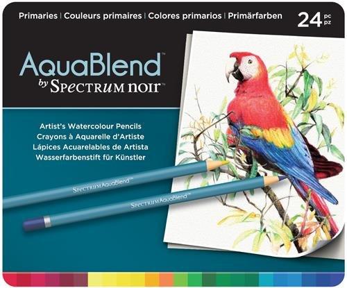 Spectrum Noir Aquablend Essentials Crayons, Multicolore, Lot de 24, Bois Dense, Primaries, 1.9 x 19.68 x 23.49 cm