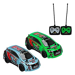 ColorBaby- Set 2 Coches radiocontrol Speed&Go Escala 1:26 Blanco y Verde, Color (85348)