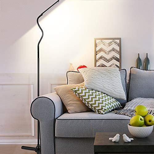 ACCEWIT LED Stehlampe dimmbar mit Fernbedienung, 12W Stehleuchte für Wohnzimmer Leselampe Modern Flexible Schwenkbare Standlampe 1600 LM 360 ° Drehfunktion 5 Helligkeitsstufen und 5 Farbtemperaturen -