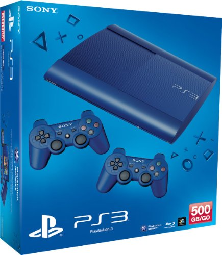 PlayStation 3 - Konsole Super Slim 500 GB blau (inkl. 2 DualShock 3 Wireless Controller blau) (Ps3 Gb Bundle 500)
