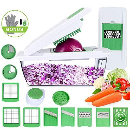 Cortador de Verduras Mandolina Multiusos 15 en 1 Slicer de Vegetales  Profesional Rallador Corta Espiral Frutas 853898f2b966