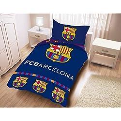 Juego de cama del FC Barcelona, 100% de algodón–Funda de edredón (140x 200cm) + funda de almohada