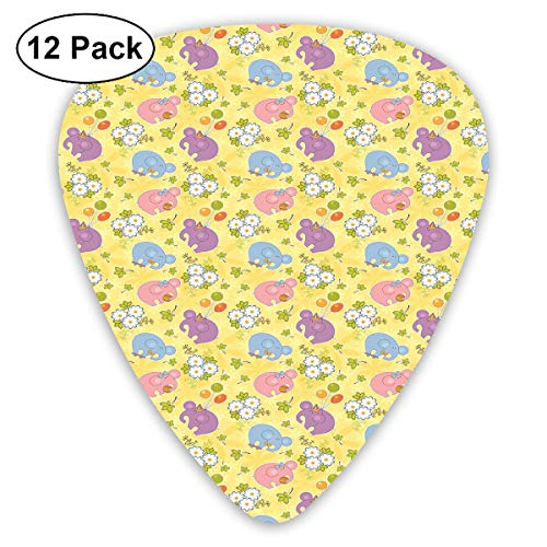 Guitar Picks12pcs Plectrum (0.46mm-0.96mm), Blossoming Cartoon Flowers And Animal Mascots Balloons Bow Ties Playful Clip Art,For Your Guitar or Ukulele - Mascot-clip
