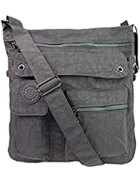 Bag Street Umhängetasche grau Nylon-Damenhandtasche mit Fee-Anhänger OTJ206K