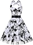Summer Dresses, OTEN Women Vintage 1950's Floral Halter Neck Rockabilly Swing Dress Folar White , Small