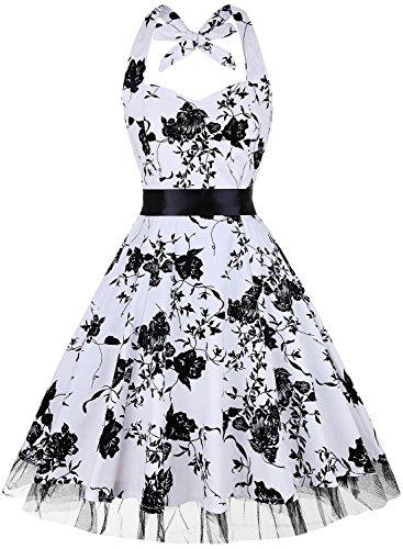 OTEN Damen 50s Vintage Retro Festliche Kleider Neckholder Cocktailkleider Party kleid Sommerkleid ¡ (Vintage Neckholder Kleid)