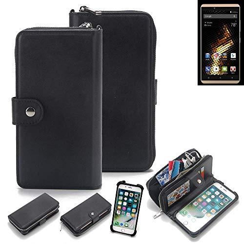 K-S-Trade 2in1 Handyhülle für Blu Vivo 5 Schutzhülle & Portemonnee Schutzhülle Tasche Handytasche Case Etui Geldbörse Wallet Bookstyle Hülle schwarz (1x)