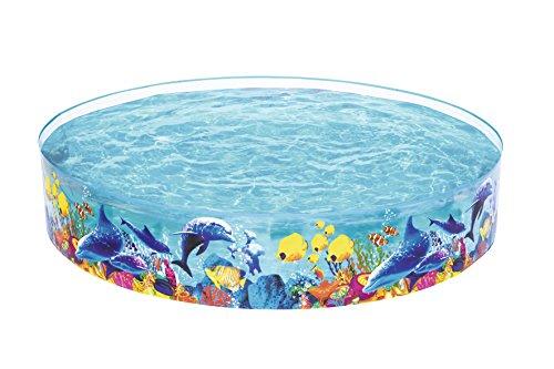 Bestway Fill 'N Fun - Piscina per Bambini, Decorata con Immagini di pesciolini e Coralli, Diametro 244 cm, Altezza 46 cm