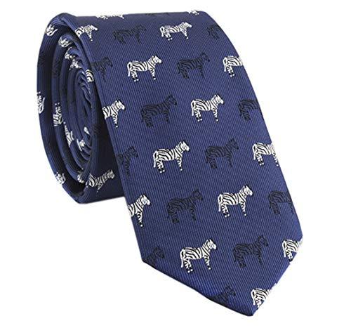 YueLian Herren Krawatte,mit Niedlicher Muster, in verschiedenen Farben(Marine Zebra)