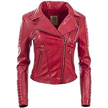 ec00cc95b30 Aviatrix Chaqueta Biker Corta De Cuero Autentico para Mujer con Cremallera  Asimetrica (K014)
