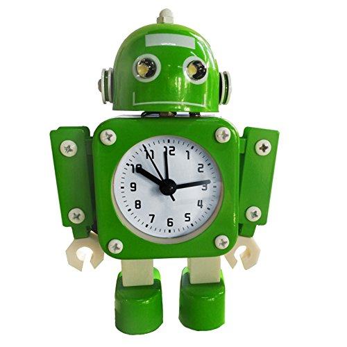 Pingenaneer Kinder Wecker Stille Analog Quarzwecker, Metall Roboter-Design wecker, Lauter Alarm, Ohne Ticken, Schlummerfunktion, Batteriebetrieben - Grün