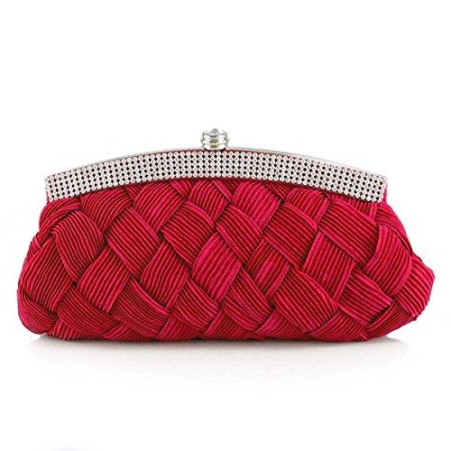 Geldbeutel Für Mädchen Box Clutch Abendtasche Hochzeit Abend-Partei-Kupplungs-Handtaschen Red