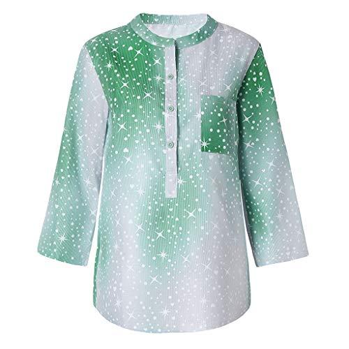Lonshell Damen Hemden mit Star Muster Taschen Shirt und Blusen Locker Langarmshirt Tuniken, Knopfleiste Oberteile Tops Große Größe Jacken Tunika
