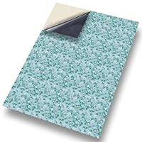 "No 19 Floral on Blue: NEW SELF ADHESIVE Dolls House Wallpaper : 1/12th scale Sheet Size : 12. 1/12"" wide x 8.3/4"" high (318mm x 225mm) Superior ""Non see through"" Semi Matt Vinyl Coverings that can be applied instantly over existing papers or directly on to any smooth surface - substantial thickness !"
