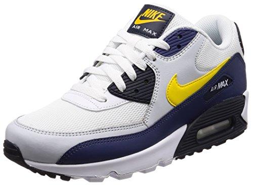 Nike scarpe uomo air max 90 essential - bianco/blu/grigio/giallo, 44