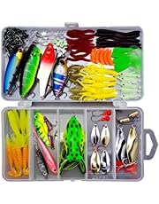 Proberos® 109PCS Including Frog Lures Soft Fishing Lure Hard Metal Lure VIB Crank Popper Minnow Jig Hook for Trout Bass Salmon with Free Tackle Box