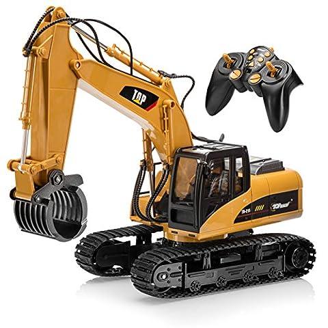 Top Race® ferngesteuerter Bagger als Kettenbagger mit Greifarm Schaufelbagger Baustellenfahrzeuge ferngesteuert Spielzeug für Jungs