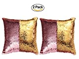 #10: JERN Cushion Cover Sequence Fancy Pillow Cover For Home Sofa Cushion Cover(Pack of 2) (Pink & Gold)