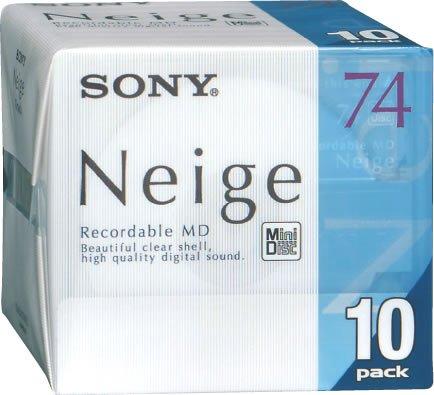 Sony Neige 74 Minutes Blank minidisc 10 Disc Pack Interno Negro Unidad de Disco óptico