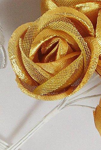Confezione 72 pezzi-fiori, bomboniera fiore rosellina, x segnaposto, composizione confetti. ck1625 oro
