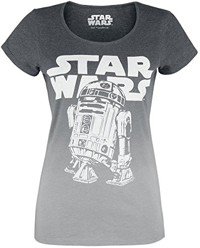 Star Wars R2D2 Logo Girl-Shirt Grau Meliert M
