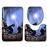 VEMOW Heißer Halloween Schwarze Katze WC Sitzbezug und Teppich Badezimmer Set Halloween Decor(F, 45cmX37.5cm(Tankdeckel))