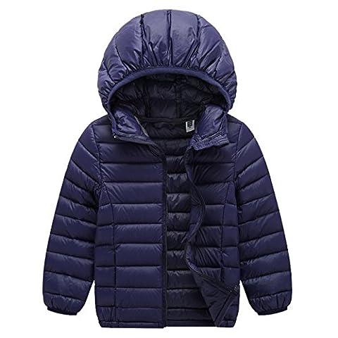 ACMEDE - Enfant Garçon Fille Vêtement Manches Longues Manteau Doudoune Blouson Compressible Ultra Légère À Capuche Hiver Fille Garçon Down Jacket
