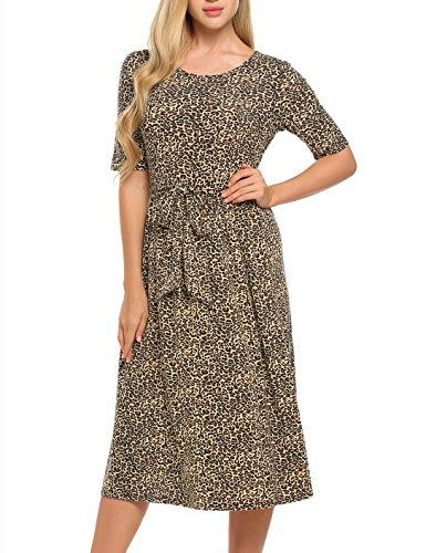 Beyove Damen Kleid Leopard Rundhals Halbarm Vintage langes Sommerkleid Abendkleid Partykleid...